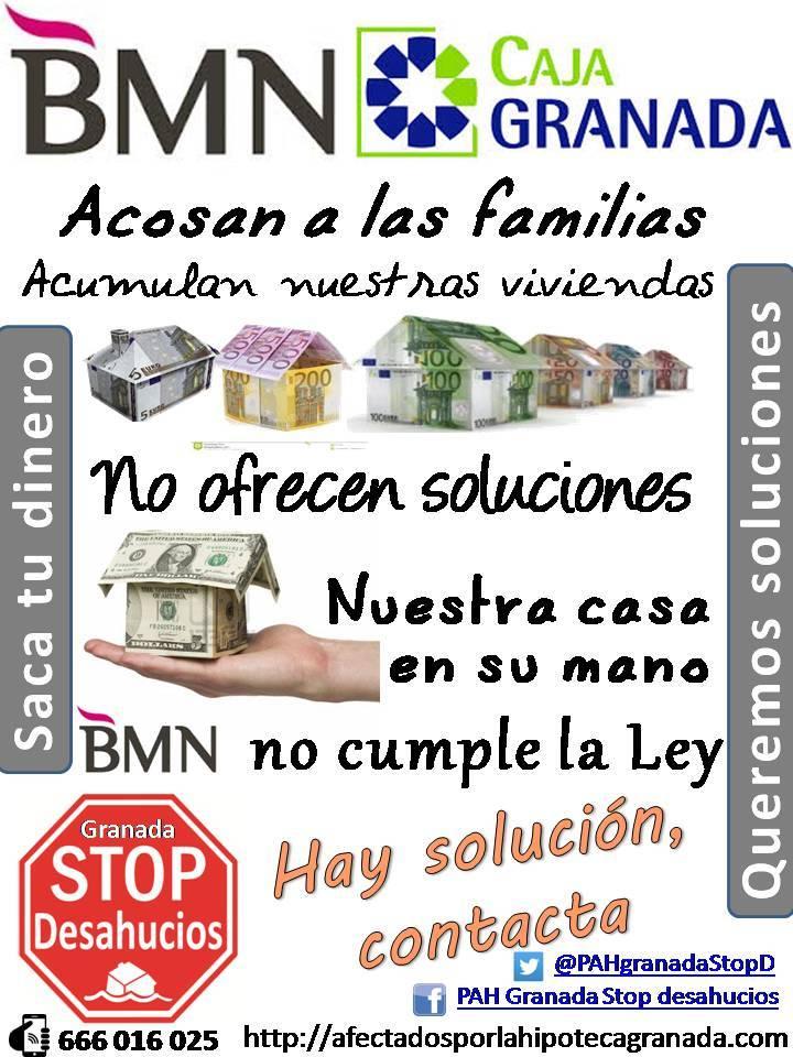 Cartel campaña BMN - Stop  Desahucios Granada