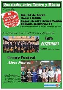 Cartel Teatro y Música. Stop desahucios Granada